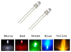 5mm LED  White,Green,Red,Yellow,Blue Color Each 20Pcs Mix Total -100Pcs