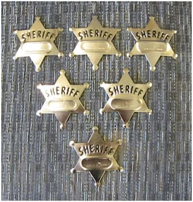 6 NEW METAL TOY SHERIFF BADGES  WEST COWBOY SILVER SHERIFF'S BADGE PARTY FAVORS