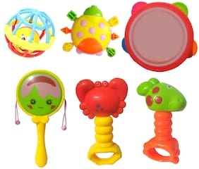 6 pcs Baby Rattle - Baby Concert - 4 Cute Rattle, 1 Tambourine, 1 Trumpt - Early Educational Toys for 3, 6, 9, 12 Month Baby Infant, Newborn