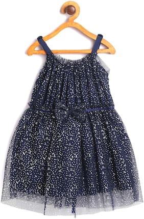 612 League Baby girl Cotton Printed Princess frock - Blue