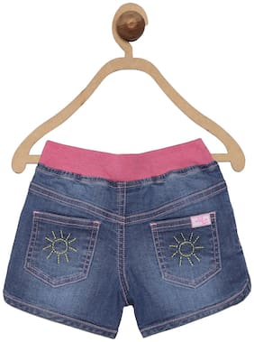 612 League Baby girl Cotton Solid Shorts - Blue