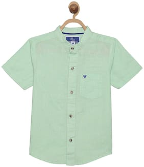 612 League Boy Cotton Solid Shirt Green