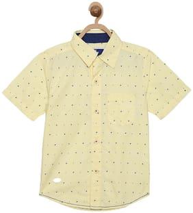 612 League Boy Cotton Solid Shirt Yellow
