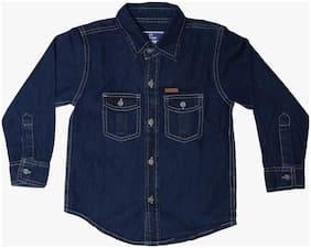612 League Boy Cotton Solid Shirt Blue