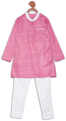 612 League Boy Cotton Printed Kurta pyjama set - Pink