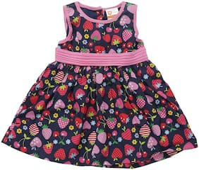 612 League Baby girl Cotton Solid Princess frock - Blue