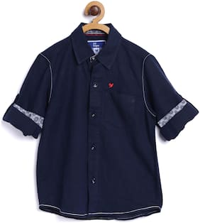612 League Boy Cotton Solid Shirt Blue