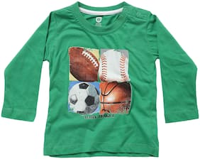 612 League Cotton Solid T shirt for Baby Boy - Green
