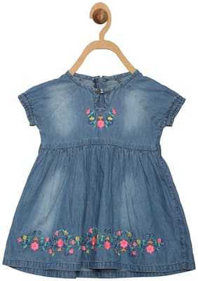 612 League Baby girl Cotton Printed Princess frock - Blue