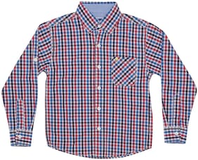 612 League Boy Cotton Solid Shirt Red