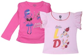612 League Cotton Solid T shirt for Baby Girl - Multi