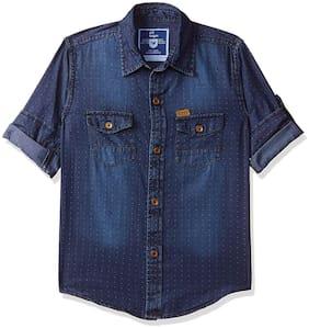 612 League Boy Denim Solid Shirt Blue