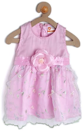 612 League Baby girl Cotton Printed Princess frock - Pink