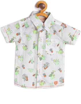 612 League Cotton Printed Shirt for Baby Boy - White