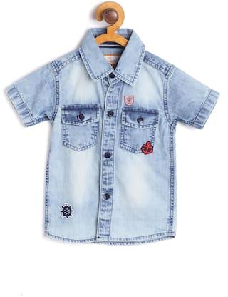 612 League Denim Printed Shirt for Baby Boy - Blue