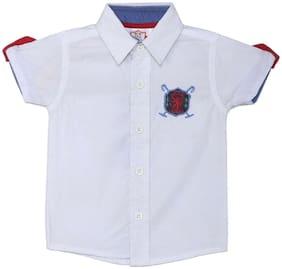 612 League Cotton Solid Shirt for Unisex Infants - White
