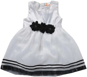 612 League Baby girl Polyester Solid Princess frock - White