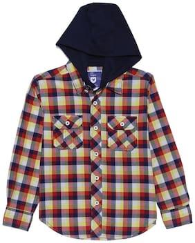 612 League Boy Cotton Solid Shirt Red