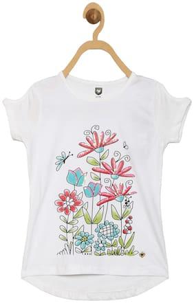 612 League Girl Cotton Printed Top - White