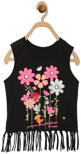 612 League Girl Cotton Printed Top - Black