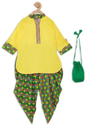 612 League Girl Cotton Solid Kurti & Salwar Set - Yellow
