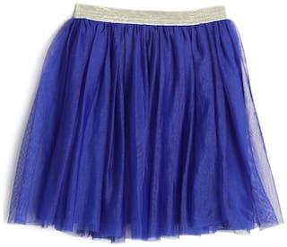 612 League Girl Cotton Solid A- line skirt - Blue