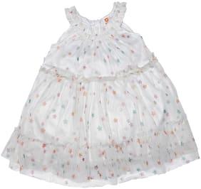 612 League Baby girl Cotton Self design Princess frock - White
