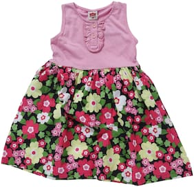 612 League Girl'S Pink Regular Fit Floral Printed Round Neck Sleeveless Dress