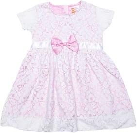 612 League Baby girl Cotton Self design Princess frock - Pink