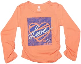 612 League Girl Cotton Solid Top - Orange