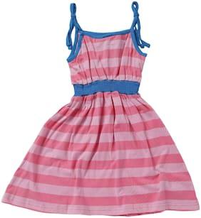612 League Girl'S Multicolor Regular Fit Striped Square Neck Sleeveless Dress