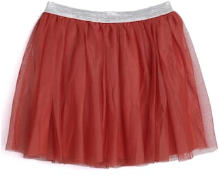 612 League Girl Cotton Solid A- line skirt - Red