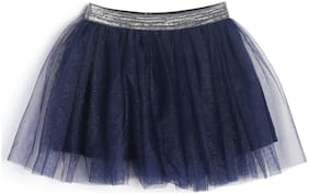 612 League Girl Cotton Solid A- line skirt - Blue