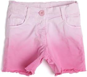612 League Girl Cotton Solid Regular shorts - Pink