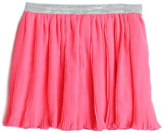612 League Girl Cotton Solid A- line skirt - Orange