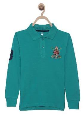 612 League Boy Cotton Solid T-shirt - Blue