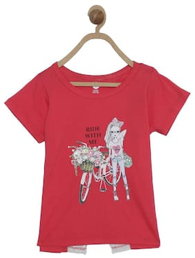 612 League Girl Cotton Printed Top - Red