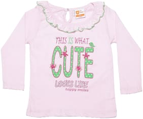 612 League Cotton Self design Top for Baby Girl - Pink