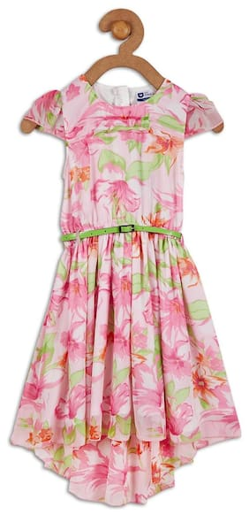 612 League Girl Cotton Printed Frock - Pink