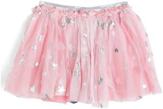 612 League Girl Cotton Solid A- line skirt - Pink