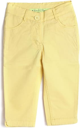 612 League Girl Cotton Solid Regular shorts - Yellow
