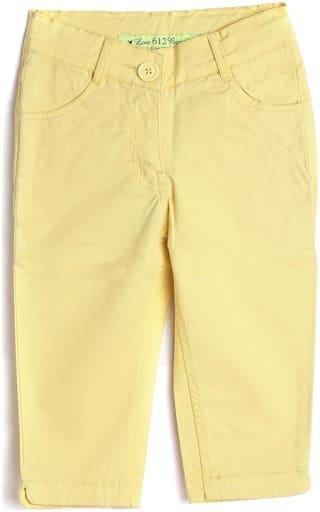 612 League Girl Cotton Solid Regular shorts - Yellow