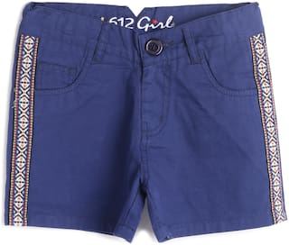 612 League Girl Cotton Printed Regular shorts - Blue