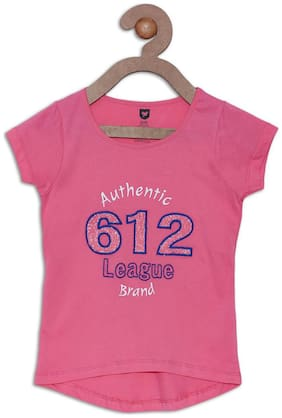 612 League Girl Cotton Printed Top - Pink