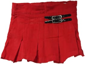 612 League Girl Cotton Solid Flared skirt - Red