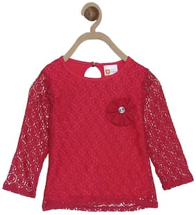 612 League Cotton Printed Top for Baby Girl - Pink