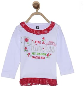 612 League Cotton Solid Shirt for Baby Girl - White