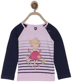 612 League Cotton Solid T shirt for Baby Girl - Pink