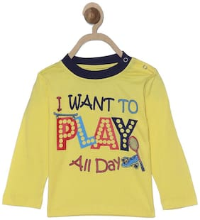 612 League Cotton Printed T shirt for Baby Boy - Yellow