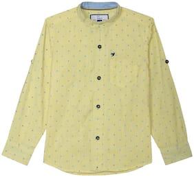 612 League Boy Cotton Printed Shirt Yellow